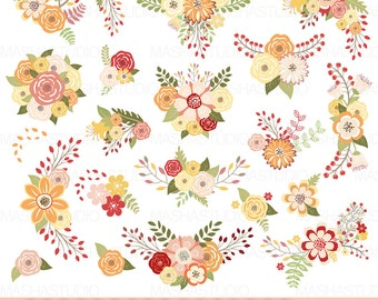 """Autumn flowers clipart: """"AUTUMN FLOWERS"""" with fall color flowers, autumn floral bouquet, flowers for wedding invitations, scrapbooking"""