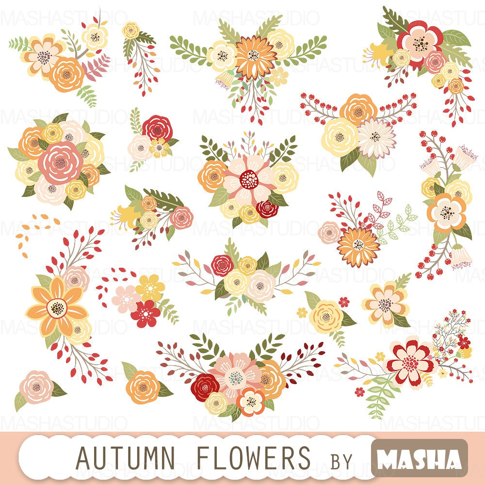 Autumn Flowers Clipart AUTUMN FLOWERS With Fall