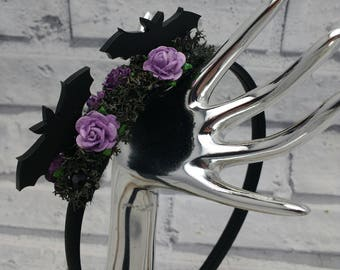 Halloween Alice band, gothic hairband, Bat fascinator, bat gifts, black and purple, alternative, spooky hair, bat accessories, bat, hairband