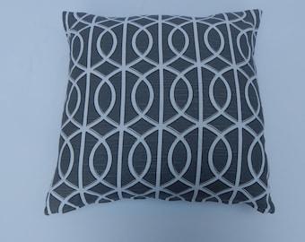 Gray geometric pillow