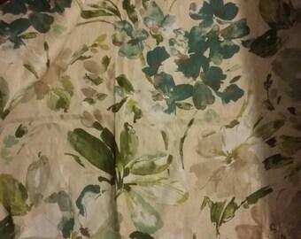 Kaufman fabric linen/cotton blend 54Wx51L teal green white 1.5yds