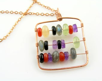 Abacus Necklace, Wire Wrapped Necklace with Abacus Pendant, Abacus Art, Pendant Necklace with Abacus Beads, Beaded Necklace, Handmade, N1112