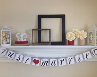 Just Married Sign,Just Married Banner, Red Wedding Decorations, Just Married Car Sign, Wedding Photo Prop, Red Married Sign