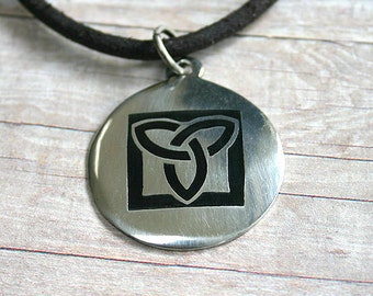 Leather Necklace With Modern Celtic Triquetra Pendant Surfer 3mm distressed cord