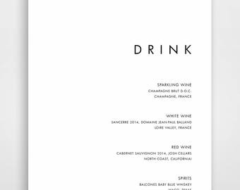 Modern Wedding, Minimalist Wedding Templates, DIY Wedding, DIY Wedding Templates, Modern Wedding Templates, Minimalist Drink Menu