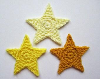"1pc 3.75"" YELLOW STAR Crochet Applique"
