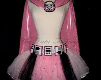 Space Trooper Cape . Girls to Adult Plus Size . White Pink Sparkle Skirt .Running Skirt . Trooper Belt . 6 Layers . Short Length 11in