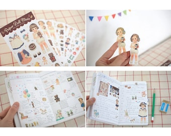 Paper Stickers - Girl Doll Paper Doll Mate Deco Sticker set  - 6 Sheets, S007