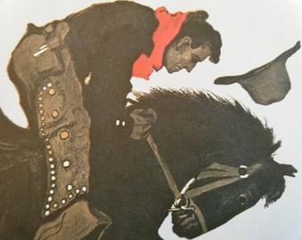 Vintage Circus Poster Print - Zirkus Busch American Cowboy Vintage Poster Size Book Plate