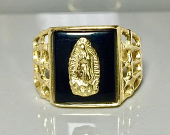14k solid gold Men's Virgin Mary Rings - 14k gold Men's Rings - 14k gold Men's Onyx Rings
