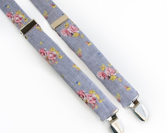 Wedding Outfit for Boys - Baby Suspenders for Boys - Denim Floral Suspenders - Wedding Suspenders for Kids - Little Boys Suspenders