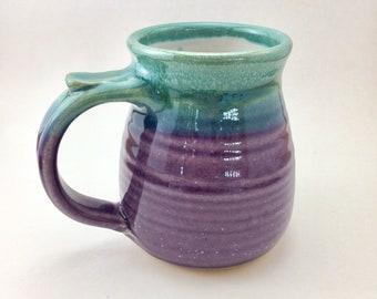 Stoneware Mug, Pottery Mug, Large Coffee Mug, Teal and Purple Mug, 16 oz Mug , Pottery Coffee Mug, Hand Thrown Mug, Best Selling Mug
