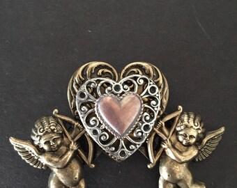 Angel Brooch, Cupid Brooch, Heart Brooch, Valentine's Brooch