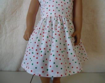"Green and Red polka dot dress for 18"" dolls"