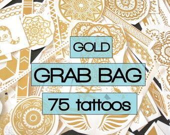 Surprise mix of all gold metallic temporary tattoos, party favors, flash, tattoos, gold, body art, wedding, bachelorette, surprise, birthday