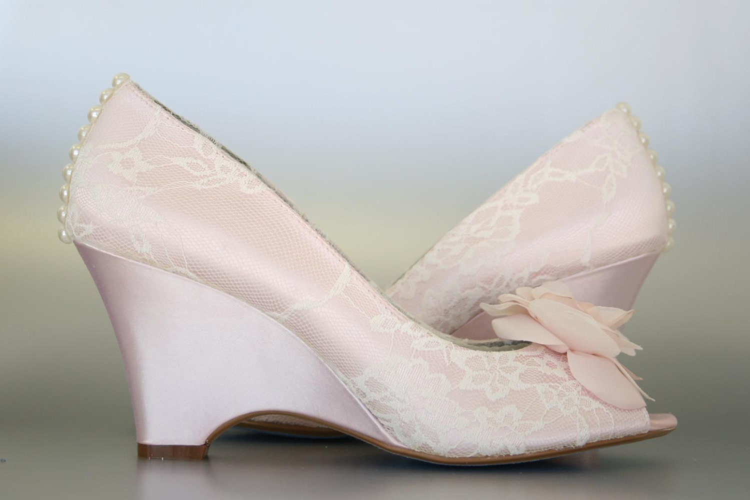 Custom Wedding Shoes Pink Blush Wedge Peep Toe