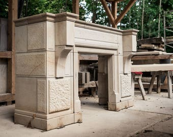 Fireplace / / fireplace mantle / / fireplace surround / / chimney panelling / / fireplace mantle / / sandstone / / natural stone / / natural stone