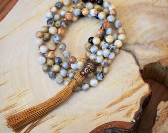 Mala 108, Collier de méditation, Mala noué en pierre d'Agate & d'Onyx, Bouddha cuivre, Collier long avec tassel or, Idée cadeau yoga, Bijou