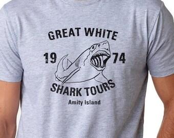 Jaws Shirt, Mens Shark T Shirt, Funny Shark Gifts, Ocean Shirt, Funny Movie Shirts, Funny Gifts for Guys, Great White Shark Tours Shirt