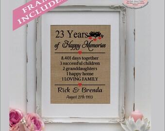 23rd wedding anniversary, 23 years married, 23 years together, gift for anniversary, 23rd anniversary gift, anniversary ( ann402-23)