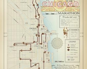 "The Chicago Marathon [vintage inspired] 11"" x 14"" running route map"