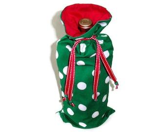 Christmas Wine Gift Bag, Bottle Carrier, Reuseable Lined Fabric Wine Bag, Green & White Polka Dot Wine Bag, Gift For Men and Women