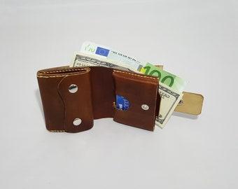 EDC Billfold/Short/Bifold Wallet/Full Grain Vegetable Tanned Leather/Hand sewn/Men's Wallet/Women's Wallet/Coin purse/