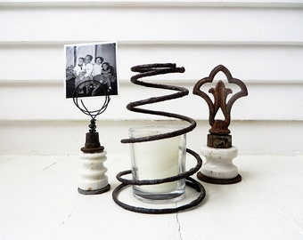 """Wire photo holder from found objects / Junk photo stand / Farmhouse decor / """"Pile of rusty stuff"""" collection"""