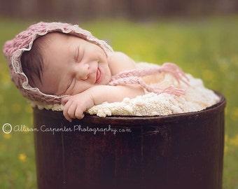Lace Knit Bonnet, Newborn Girl Hat, Crochet Baby Bonnet, Newborn Photo Prop, Newborn Girl, Newborn Lace Bonnet, Newborn Baby Bonnet,