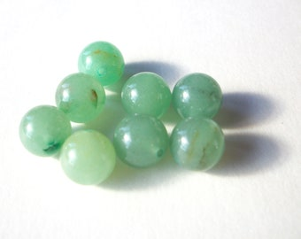 10mm round green aventurine beads, set of 8