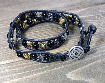 Sun and Moon Wrap Bracelet~ Black Leather Double Wrap Bracelet~ Celtic Knot~Sun Moon Bracelet~ Spiritual Bracelet~Silver Gold Bracelet