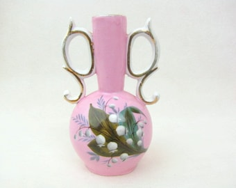 Vintage Vase - 1891 - Pink - Art Nouveau - Hand Painted - Flower Vase - Small - Lily of the Valley - Gold Trim - Photo Props Not Included