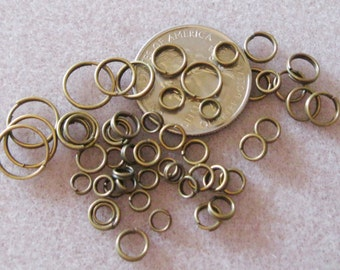 Antique Bronze Brass Split Jump Rings Various Sizes Nickel Free 4mm 5mm 6mm 7mm 8mm 10mm 634