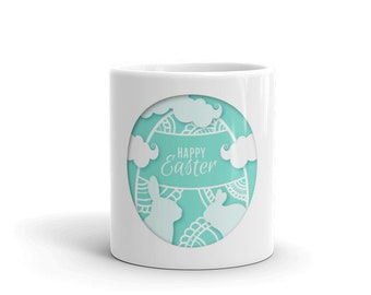 Cyan Easter Egg and bunnies on a white Mug