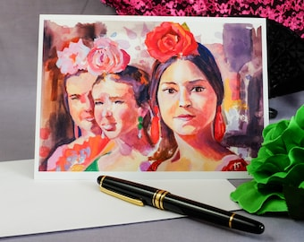 Sevilla Dancers, watercolor, print, greeting card,