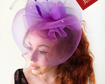 "Purple Fascinator - ""Violet"" Purple  Wedding Fascinator Hat, Tea Party Fascinator Hat - Kentucky Derby - British Fascinator"