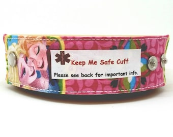 Anna and Elsa Medical Alert Bracelet Safety ID Fabric Band for Kids