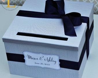 Wedding Card Box Silver Navy Blue Money Holder Customizable Card Holder Weddings Card Gift box