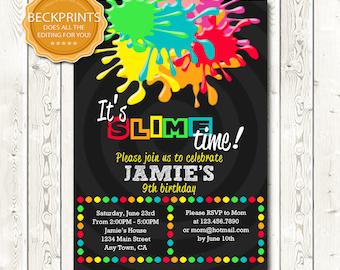 Slime Party Invitation, Digital Slime Invitation, Slime Invite,Slime Birthday Invitation, Printable Invitations, Digital Birthday Invitation
