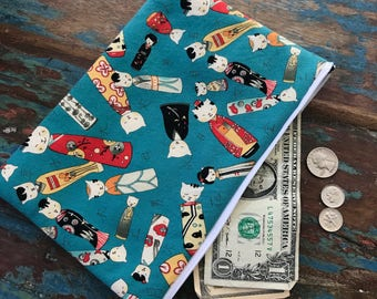 medium zipper pouch kokeshi neko