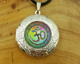 Sale~Rainbow OM silver locket necklace, OM pendant