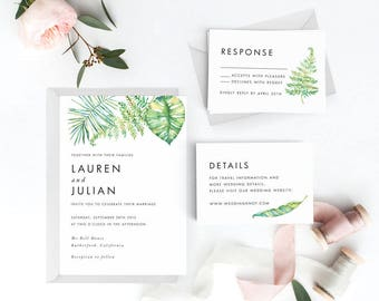 Tropical Wedding Invitation Suite, Wedding Invitation Printable, Invitation Set, Wedding Invitation Rustic, Letter or A4 (Item code: P977)