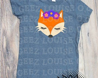 cute fox T-shirt Adult Vinyl Mom Shirt foxy shirt geez louise flowers teen
