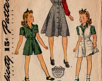 1940's Girls' JUMPER BLOUSE SHORTS Pattern Simplicity #4301 Size 6 Wartime Fashions Vintage Sewing