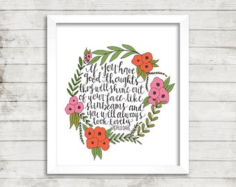 Roald Dahl Quote Print | Hand Lettered and Hand Painted | Floral Wreath Quote | Home decor | Art Print