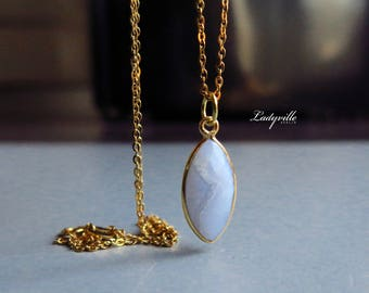Necklace - Blue Lace Agate Sterling Silver Gold
