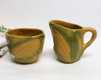 Rosemeade  Wahpeton Pottery  Corn Creamer and Sugar Bowl