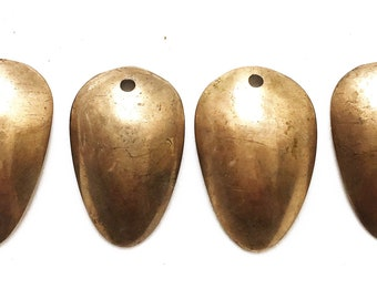 brassy metal distressed salvaged tribal cupped pear shaped jewelry components pendants for repurposing--two sizes--lot of 4