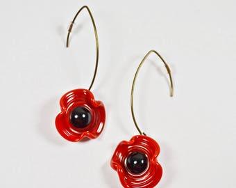 Poppy Lampwork Glass earrings
