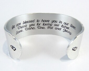 """Stepmom Gift - We are blessed to have you in our lives.  Thank you for loving our father. Love, ( Name ) - 1"""" message cuff ~ Stepmother Gift"""